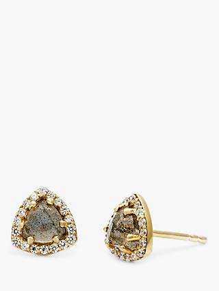 Leah Alexandra Labradorite and Cubic Zirconia Triangular Stud Earrings, Gold