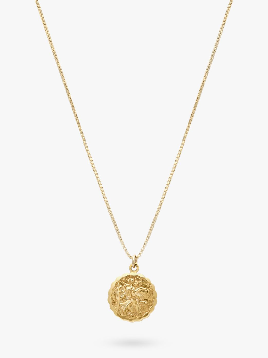 Buy Leah Alexandra St Christopher Round Pendant Necklace, Gold Online at johnlewis.com