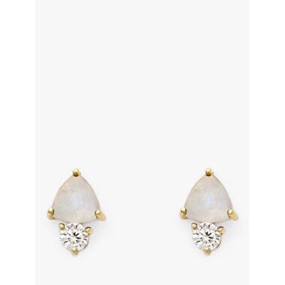Leah Alexandra Semi-Precious Stone and Cubic Zirconia Triangular Stud Earrings