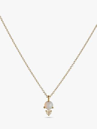 Leah Alexandra Double Semi-Precious Stone Pendant Necklace, Gold
