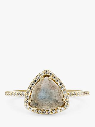 Leah Alexandra Trielle Labradorite and Cubic Zirconia Triangular Ring, Gold