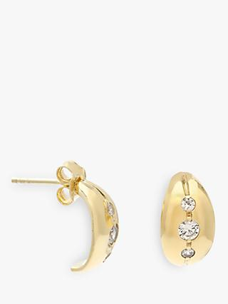 Leah Alexandra Marais Cubic Zirconia Mini Hoop Stud Earrings, Gold