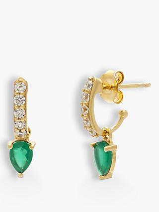 Leah Alexandra Semi-Precious Stone and Cubic Zirconia Demi Hoop Earrings