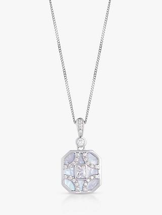 V by Laura Vann Nina Pearl and Cubic Zirconia Octagonal Pendant Necklace, Silver