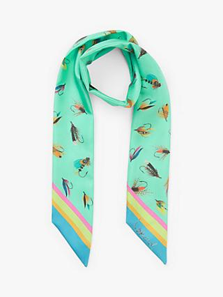 BHOID The Tay Folded Novelty Print Super Skinny Silk Scarf, Mint/Multi