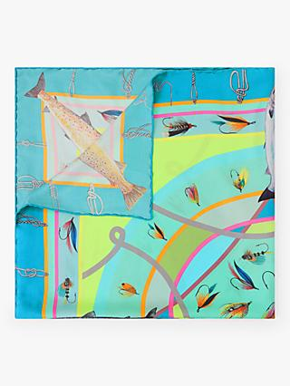 BHOID The Tay Folded Fish Print Square Silk Scarf, Mint/Multi