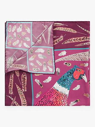 BHOID The Covey Tipped Bird Print Square Silk Scarf, Plum/Multi