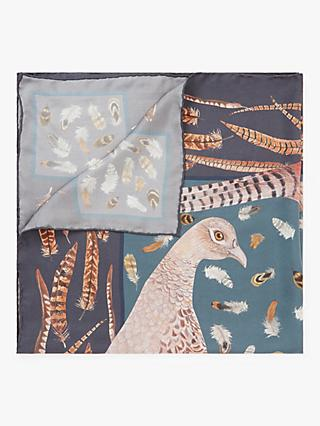 BHOID The Covey Tipped Bird Print Square Silk Scarf, Midnight/Multi