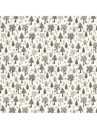 John Lewis & Partners Hiding Bears Forest Cotton Fabric, White/Grey