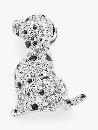 John Lewis & Partners Sparkle Dalmatian Dog Brooch, Silver