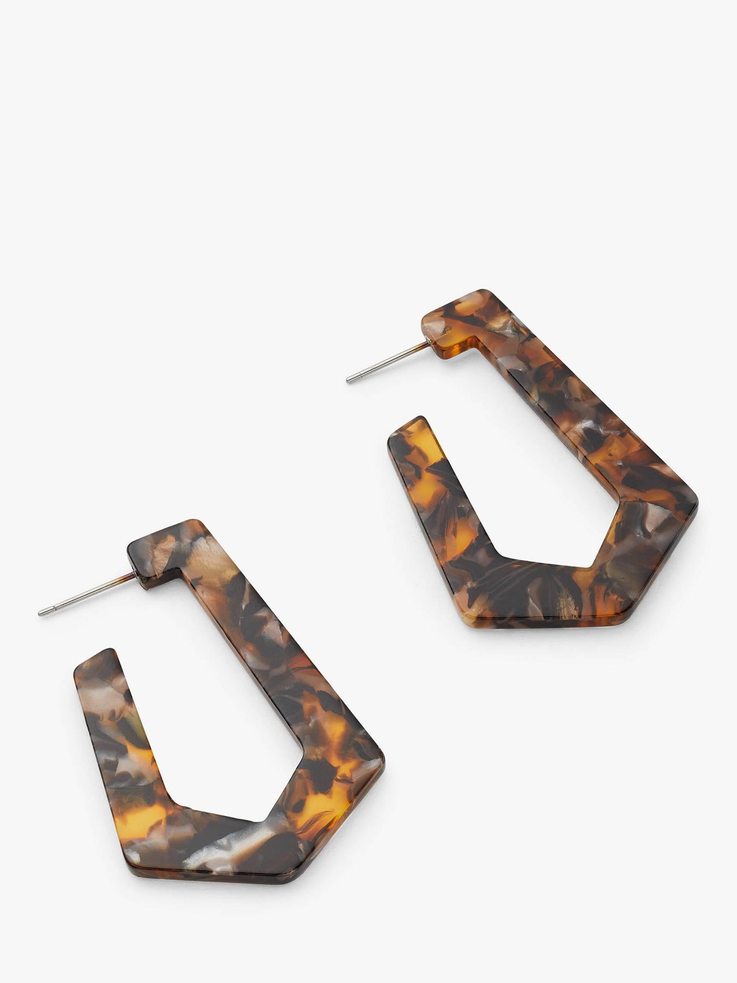 John Lewis Partners Statement Pentagonal Drop Earrings Tortoise