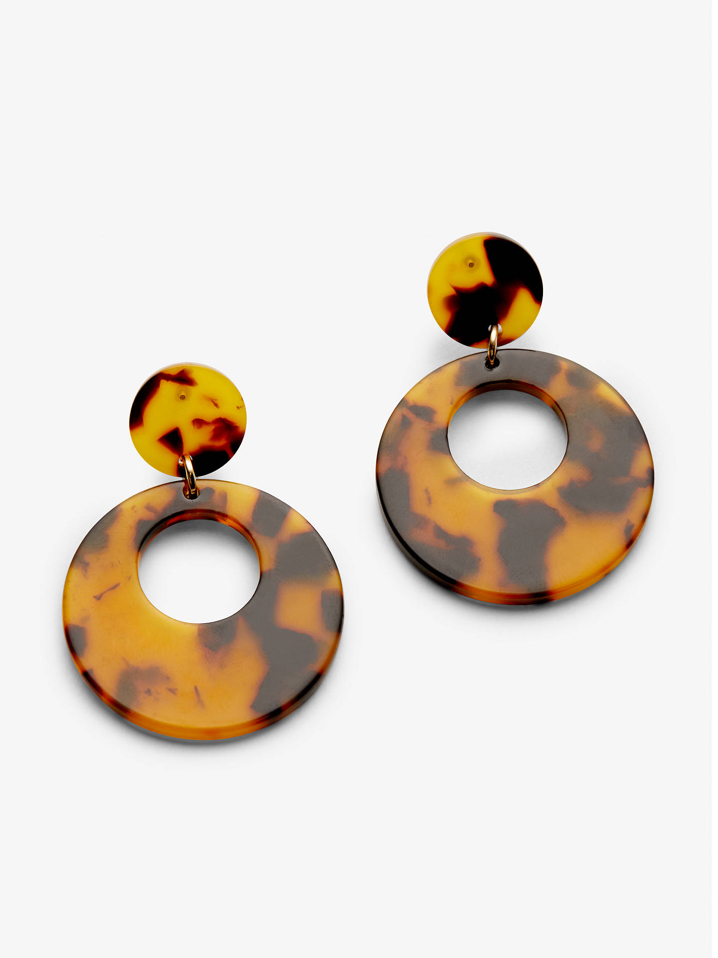 John Lewis Partners Resin Circle Drop Earrings Tortoise