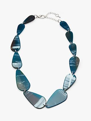 John Lewis & Partners Asymmetric Bead Short Statement Necklace, Teal