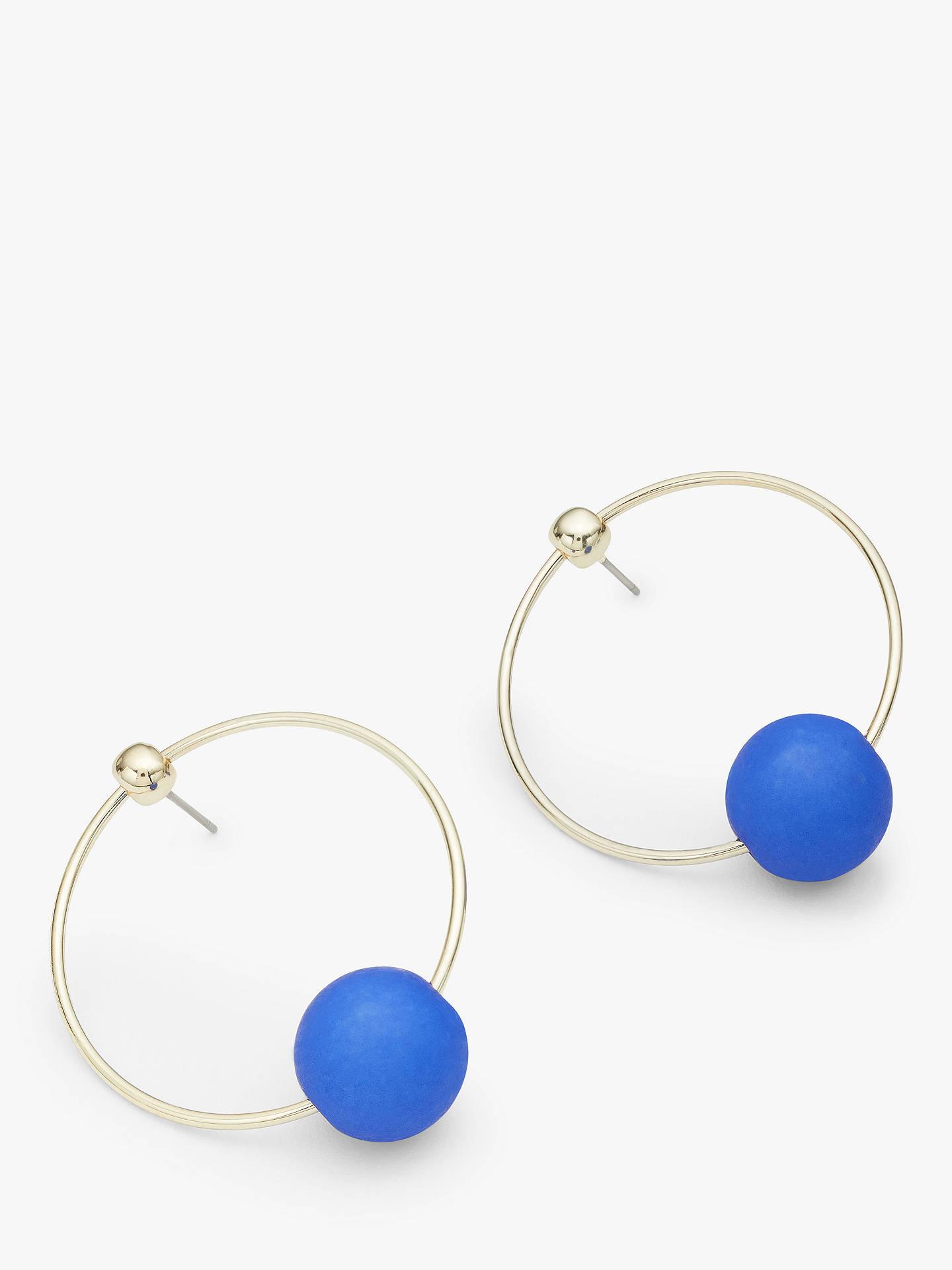 John Lewis Partners Matte Sphere Circle Drop Earrings Silver Royal Blue
