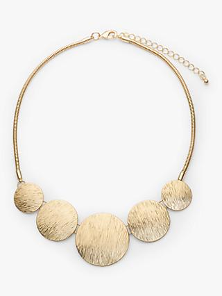 John Lewis & Partners Etched Circle Statement Necklace, Gold