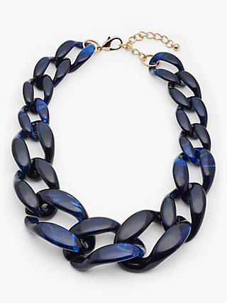 John Lewis & Partners Chunky Marble Resin Necklace, Navy