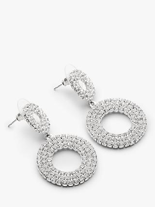 John Lewis & Partners Sparkle Double Circle Drop Earrings, Silver
