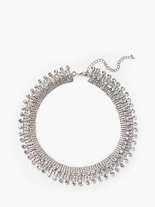 John Lewis & Partners Sparkling Droplet Choker Necklace, Silver