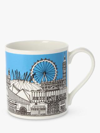 EAST END PRINTS Quite Big London Mug, 350ml, Sky Blue