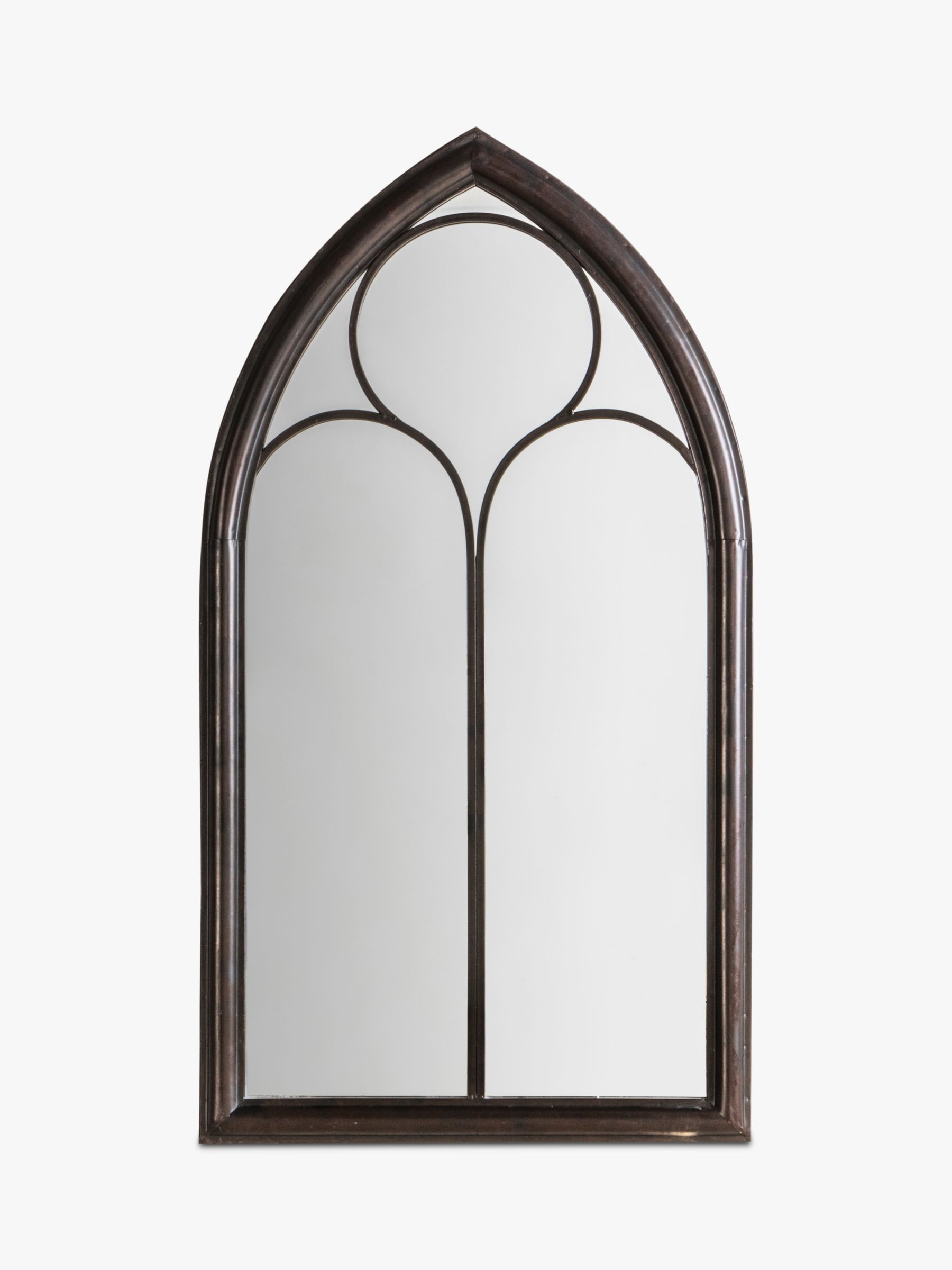 Afur Outdoor Garden Wall Arched Mirror, 112 x 61cm, Antique Noir