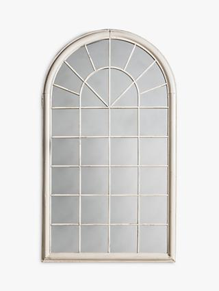 Fura Outdoor Garden Wall Window Style Arched Mirror, 131 x 75cm