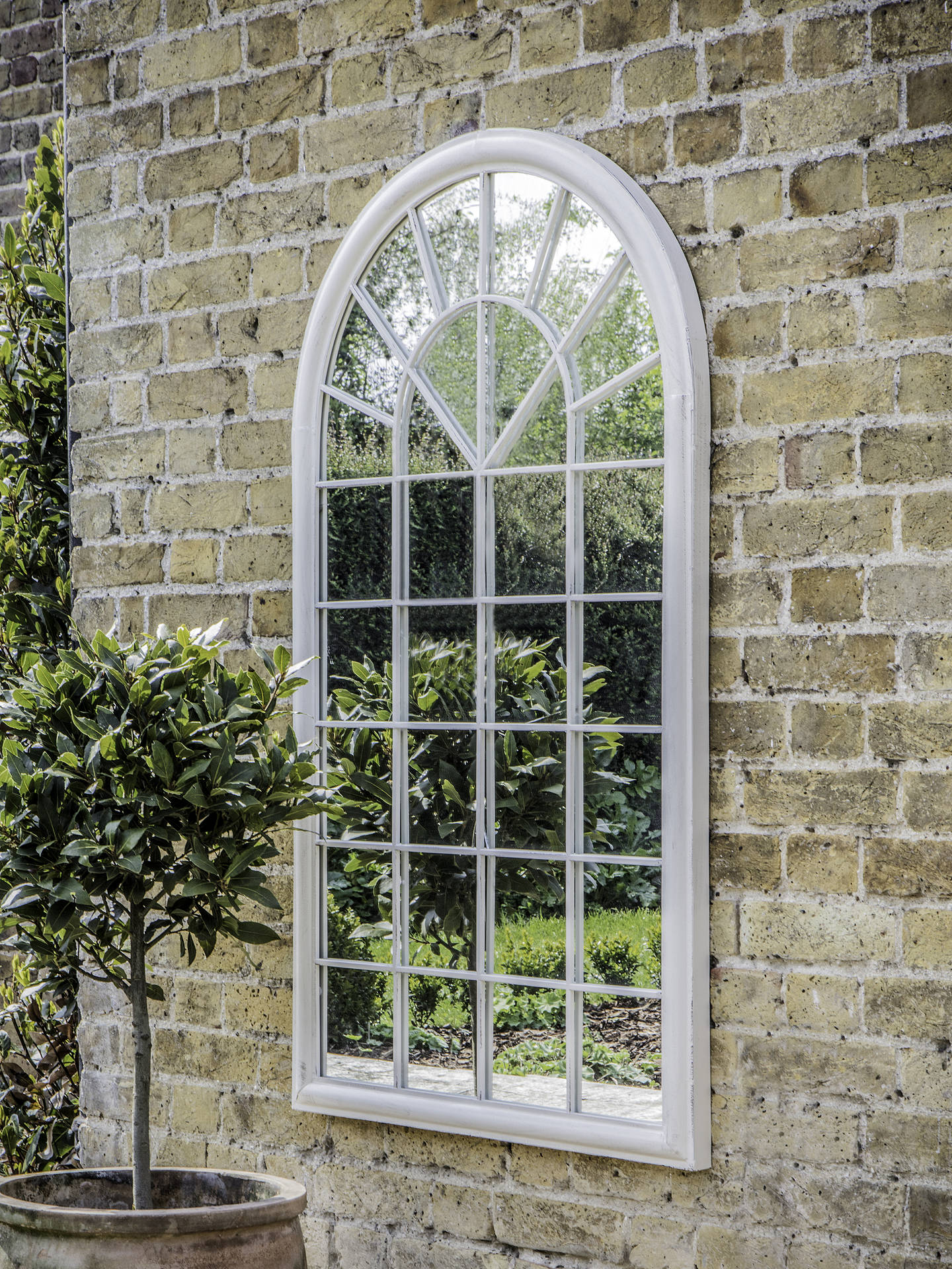 Buy Fura Outdoor Garden Wall Window Style Arched Mirror, 131 x 75cm, Antique Cream Online at johnlewis.com