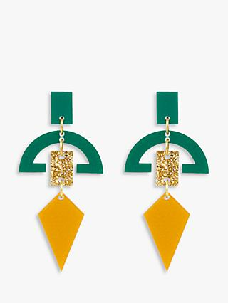 Toolally Half Moon Drop Earrings, Royal Gold/Green