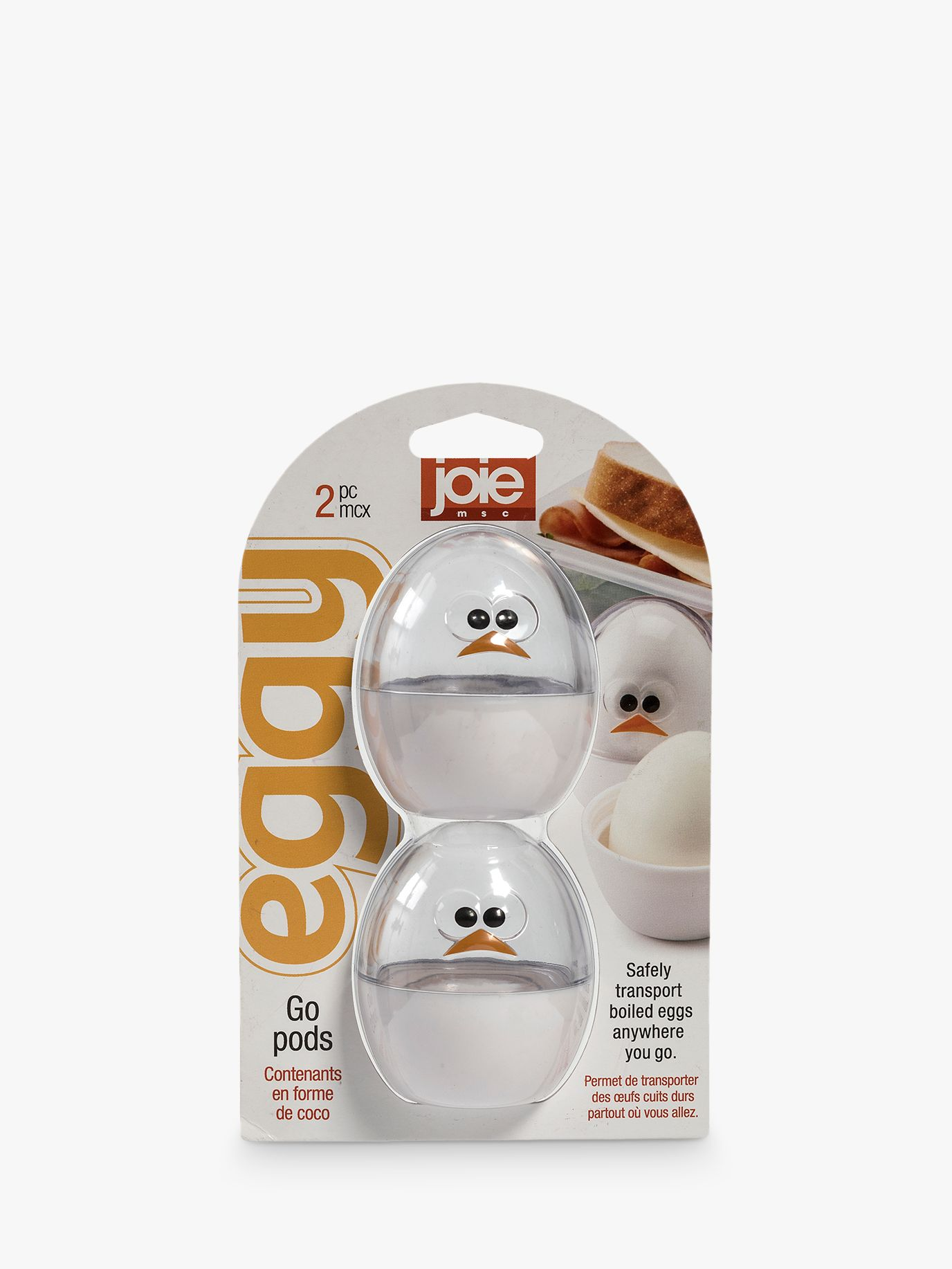 Joie Joie Boiled Egg Go-Pod Food Storage, Set of 2, Clear