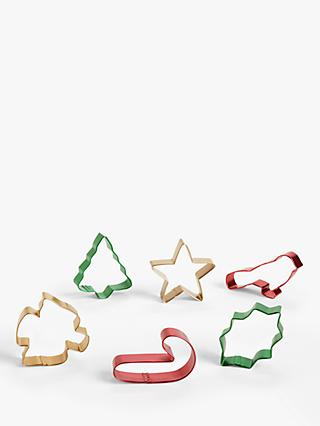John Lewis & Partners Christmas Cookie Cutters, Set of 6, Assorted