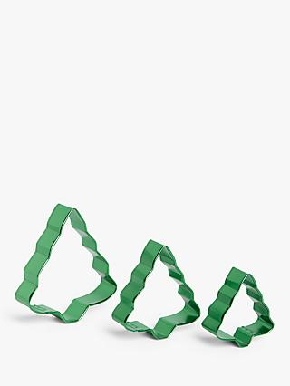 John Lewis & Partners Christmas Tree Nesting Cookie Cutters, Set of 3, Green