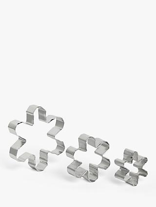John Lewis & Partners Snowflake Nesting Cookie Cutters, Set of 3, Silver