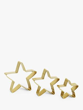 John Lewis & Partners Stars Nesting Cookie Cutters, Set of 3, Gold