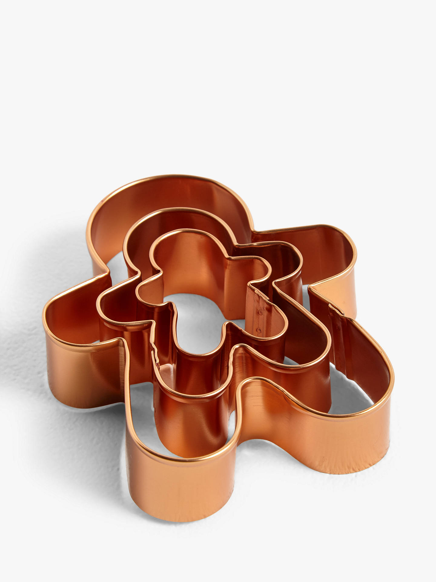Buy John Lewis & Partners Gingerbread Man Nesting Cookie Cutters, Set of 3, Copper Online at johnlewis.com