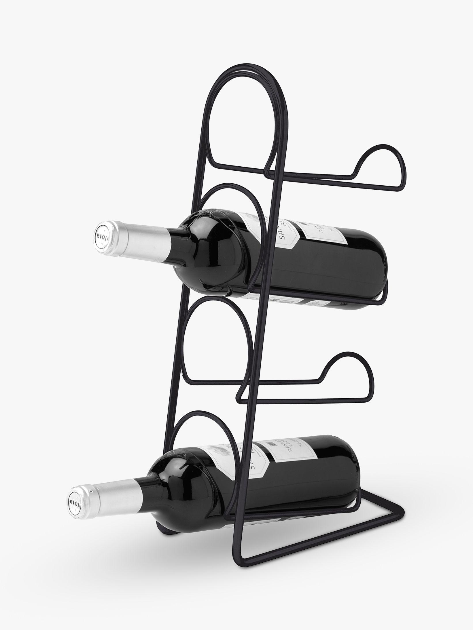 Hahn Hahn Pisa Freestanding Metal Wine Rack, 4 Bottle, Black