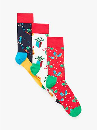 Happy Socks Christmas Holiday Socks Singing Gift Box, One Size, Pack of 3, Red/Multi