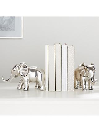 Pottery Barn Kids Elephant Shaped Bookends, Silver