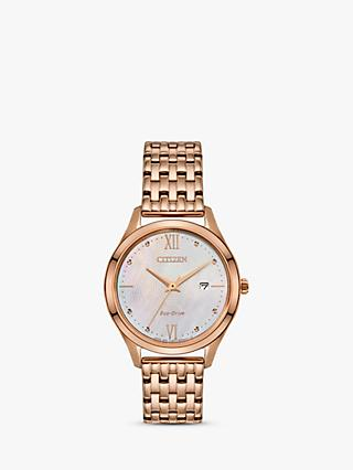 Citizen EW2533-89D Women's Date Bracelet Strap Watch, Rose Gold/Multi