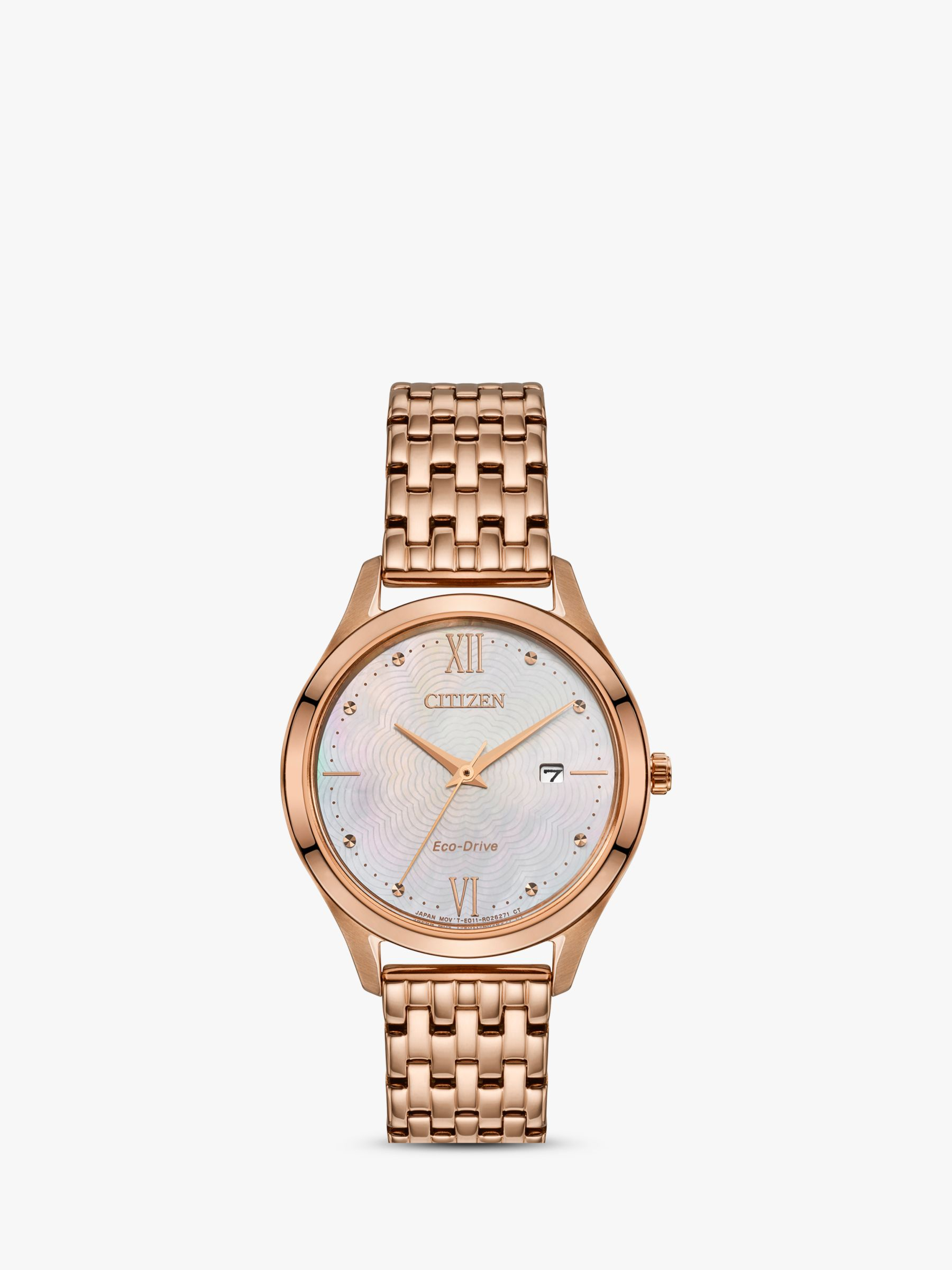 Citizen Citizen EW2533-89D Women's Date Bracelet Strap Watch, Rose Gold/Multi