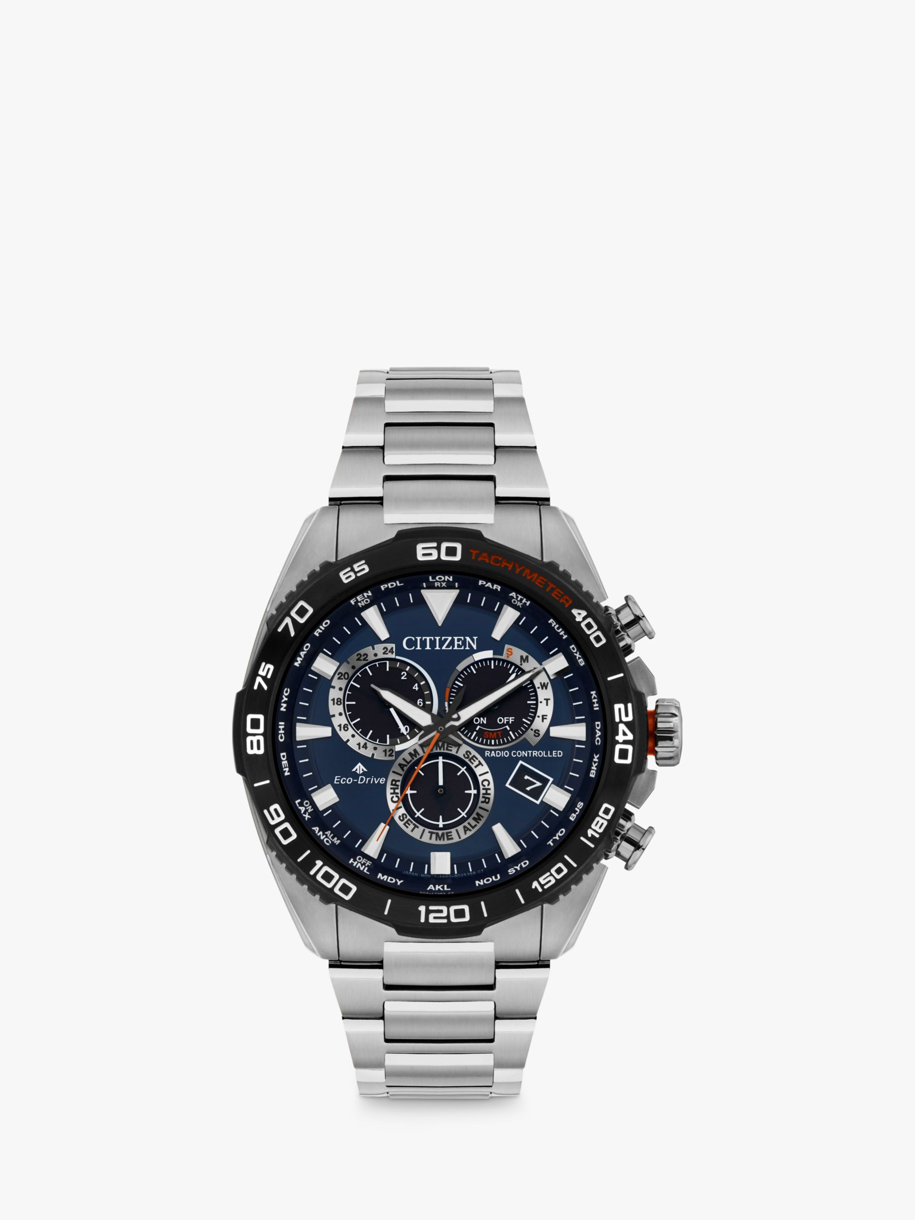 Citizen Citizen CB5034-58L Men's Promaster Eco-Drive Chronograph Date Bracelet Strap Watch, Silver/Blue