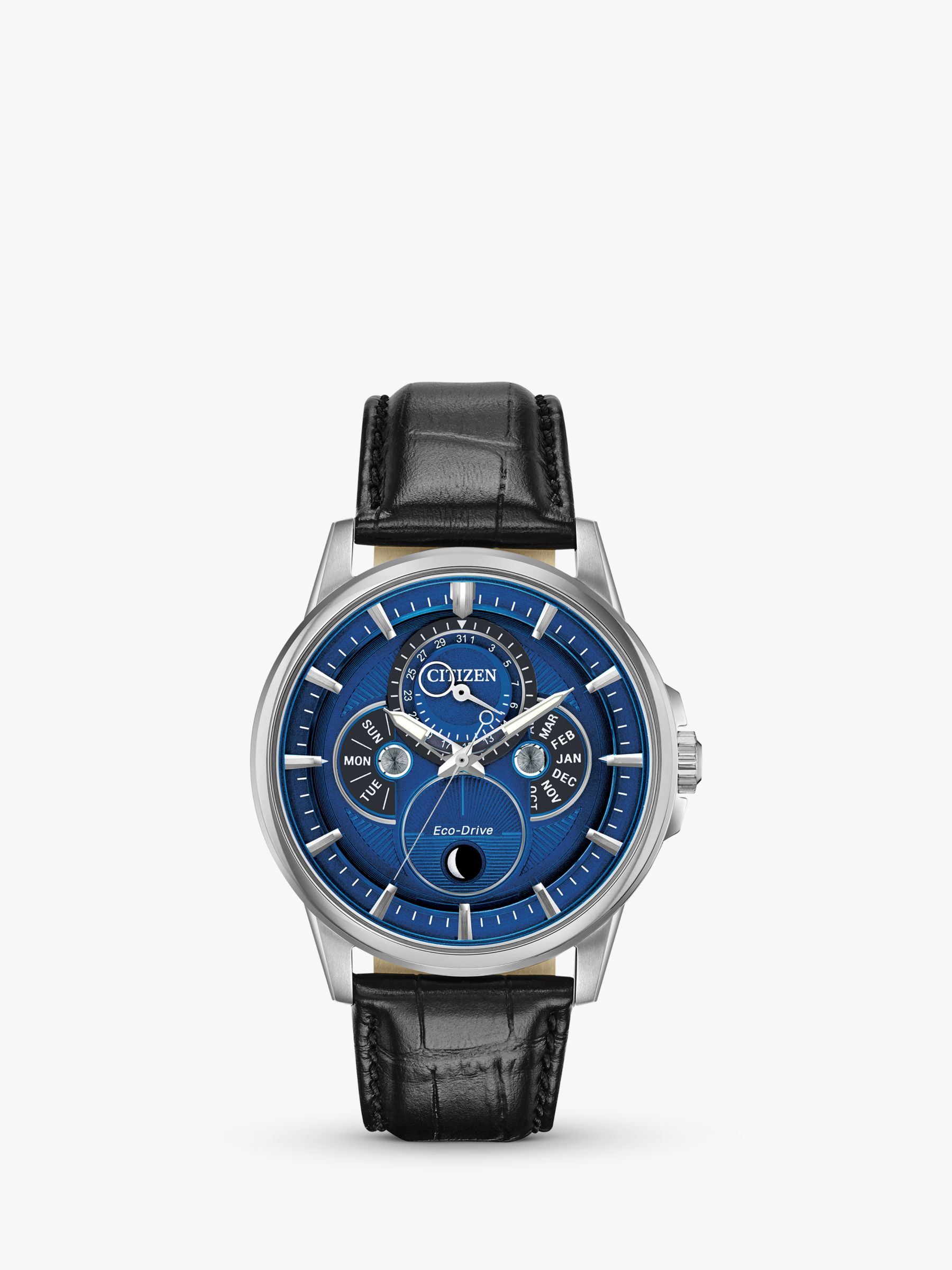 Citizen Citizen BU0050-02L Men's Calendrier Chronograph Moon Leather Strap Watch, Black/Blue