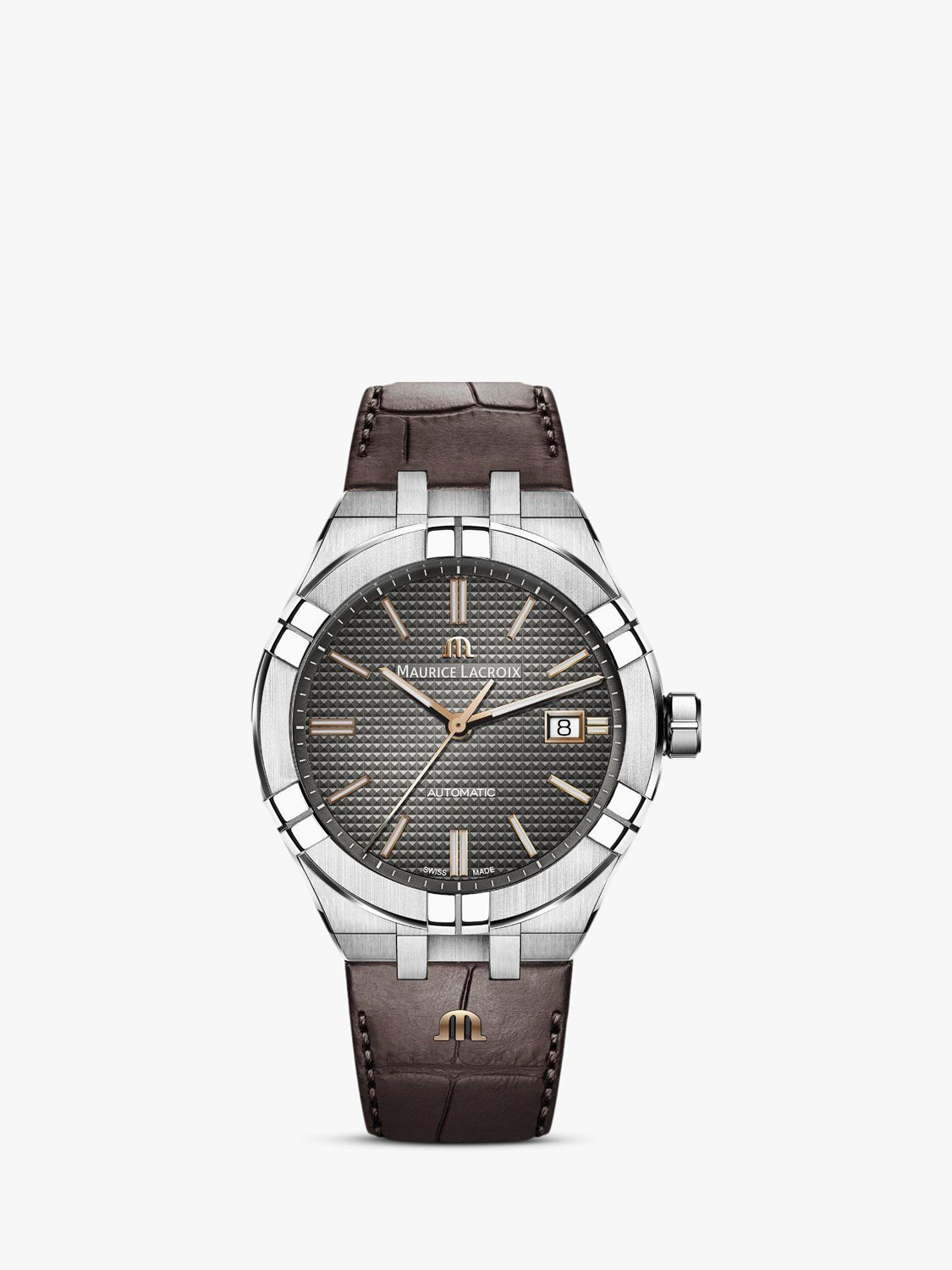 Maurice Lacroix Maurice Lacroix AI6008-SS001-331-1 Men's Aikon Date Leather Strap Watch, Brown/Silver