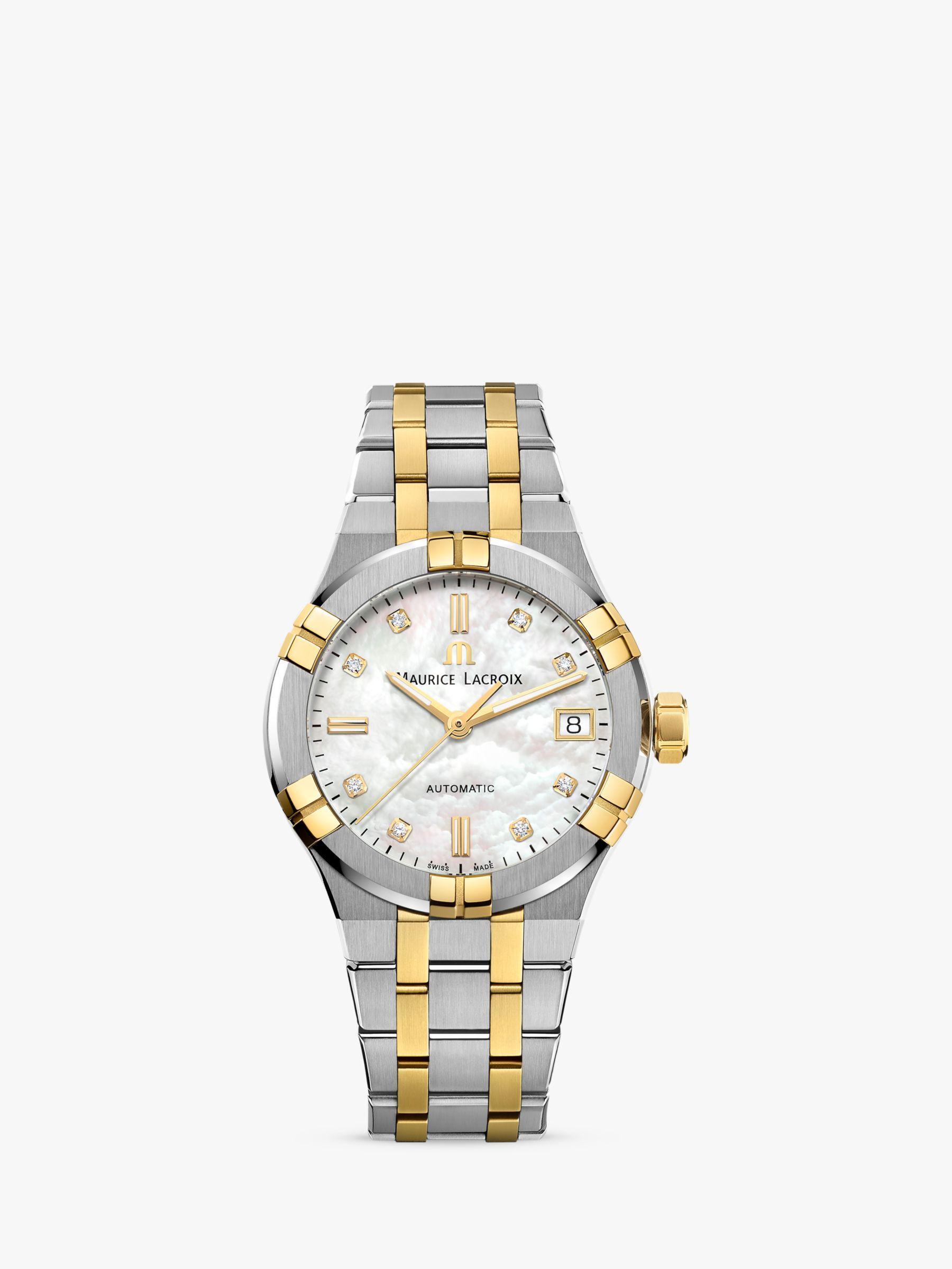 Maurice Lacroix Maurice Lacroix AI6006-PVY13-170-1 Women's Aikon Automatic Diamond Date Two Tone Bracelet Strap Watch, Silver/Gold