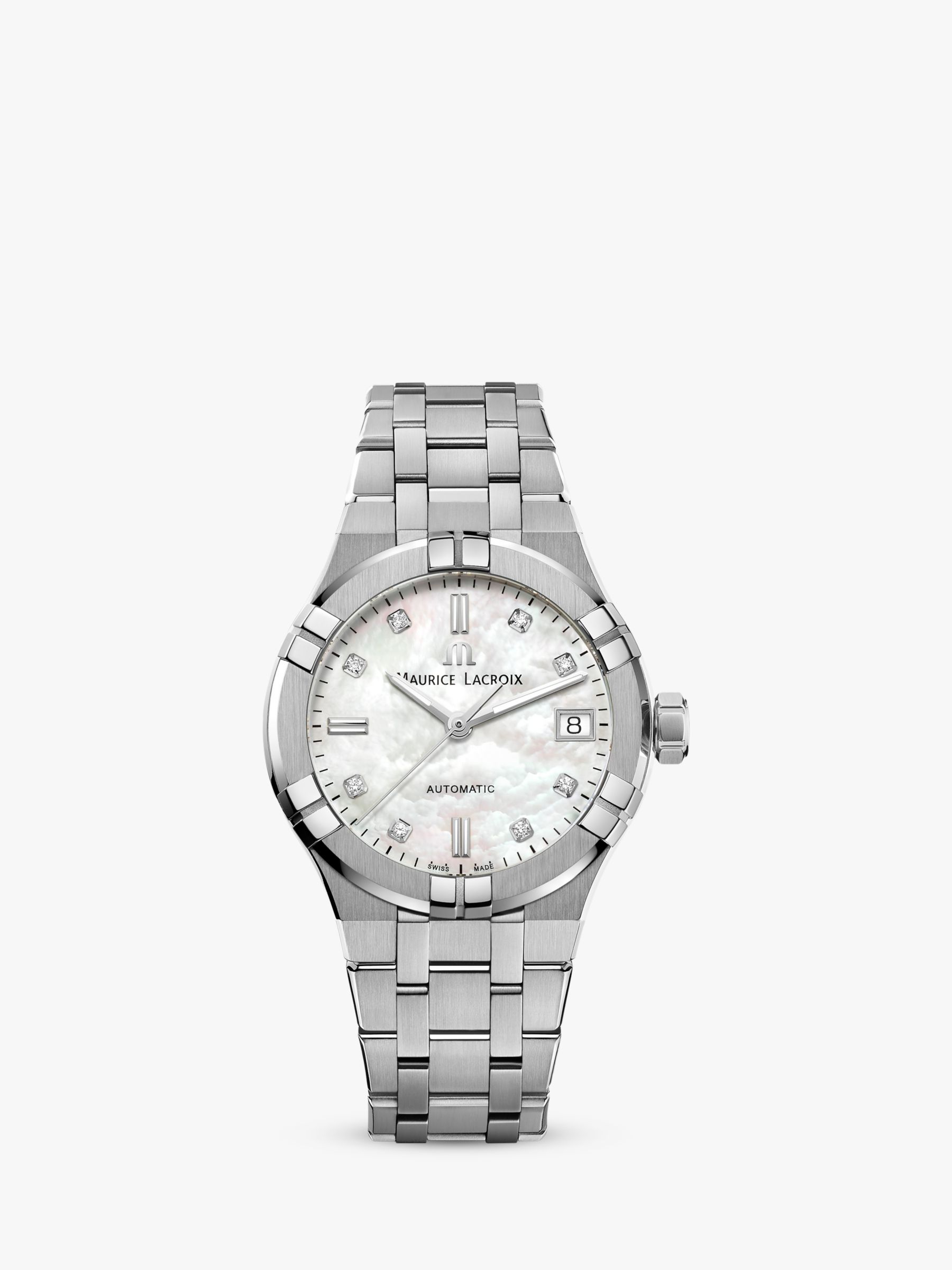 Maurice Lacroix Maurice Lacroix AI6006-SS002-170-1 Women's Aikon Automatic Diamond Date Bracelet Strap Watch, Silver/Mother of Pearl