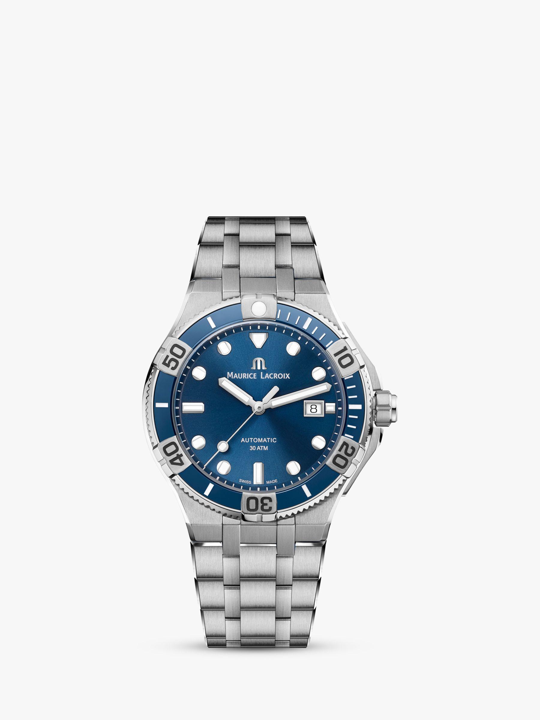Maurice Lacroix Maurice Lacroix AI6058-SS002-430-2 Men's Aikon Venturer Automatic Date Bracelet Strap Watch, Silver/Blue