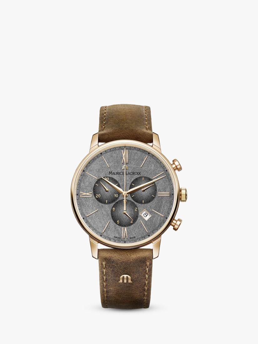 Maurice Lacroix Maurice Lacroix EL1098-PVP01-210-1 Men's Eliros Chronograph Date Leather Strap Watch, Brown/Silver