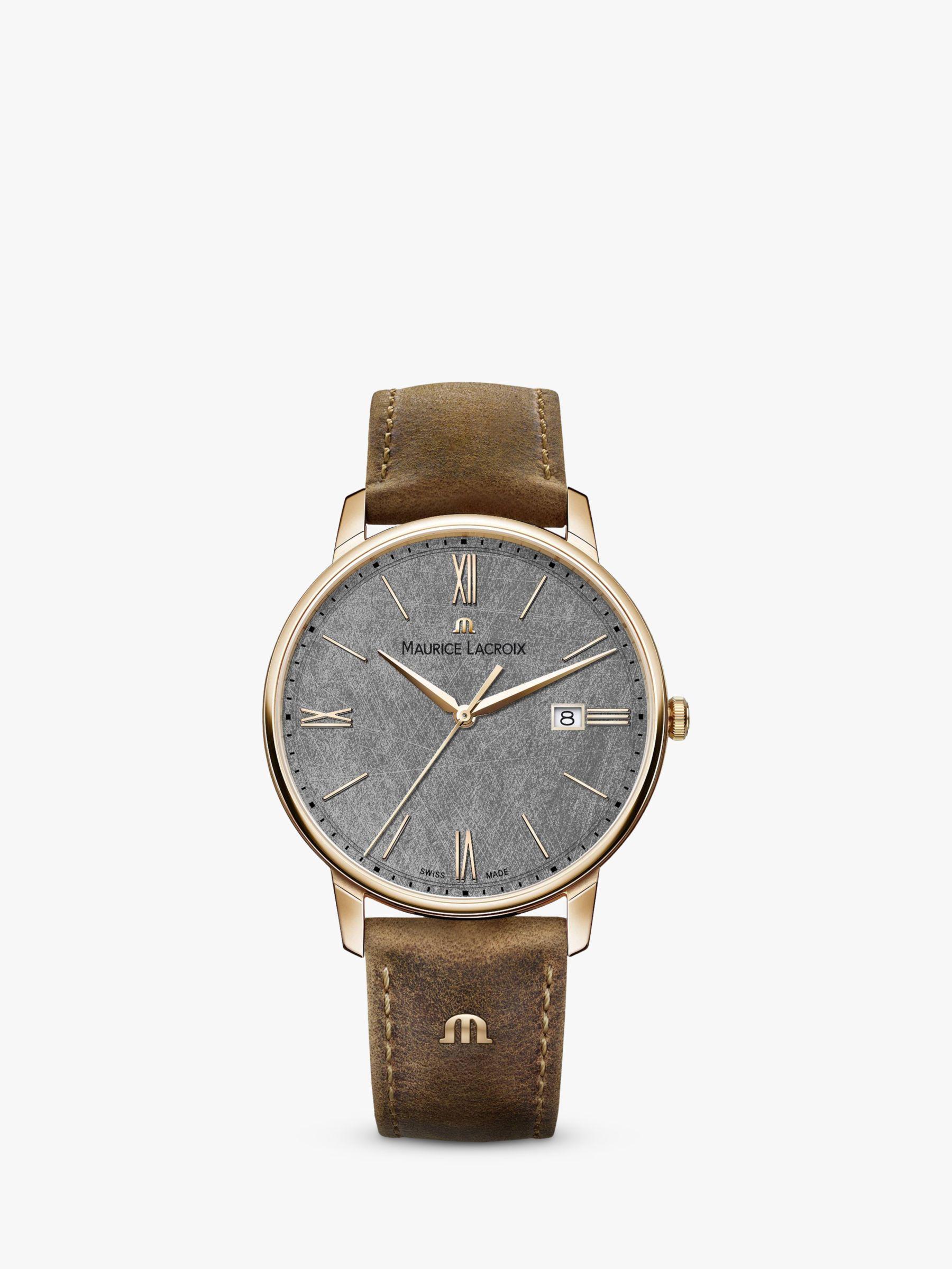 Maurice Lacroix Maurice Lacroix EL1118-PVP01-210-1 Men's Eliros Date Leather Strap Watch, Brown/Grey
