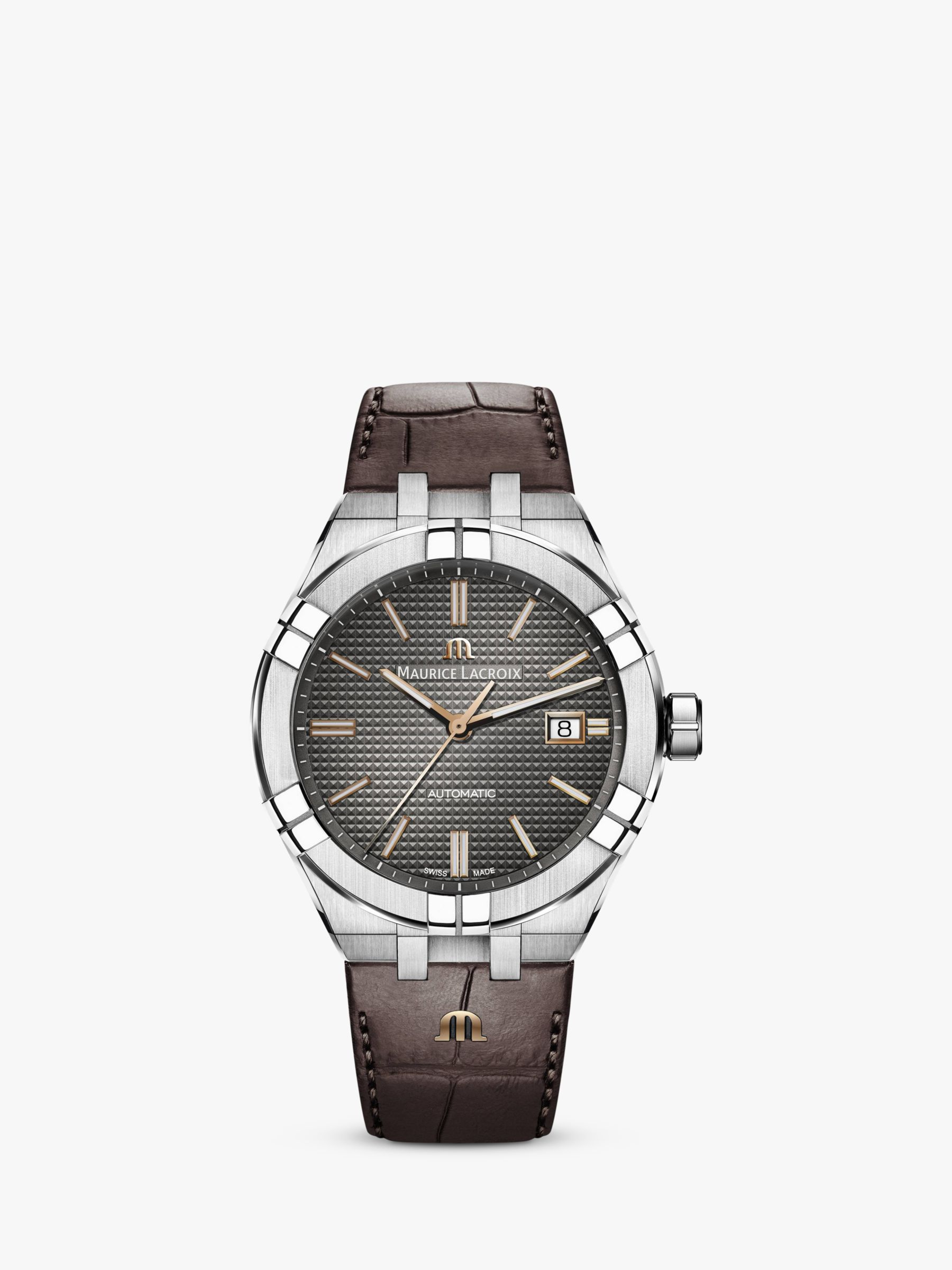 Maurice Lacroix Maurice Lacroix AI6008-SS002-331-1 Men's Aikon Automatic Date Leather Strap Watch, Brown/Grey