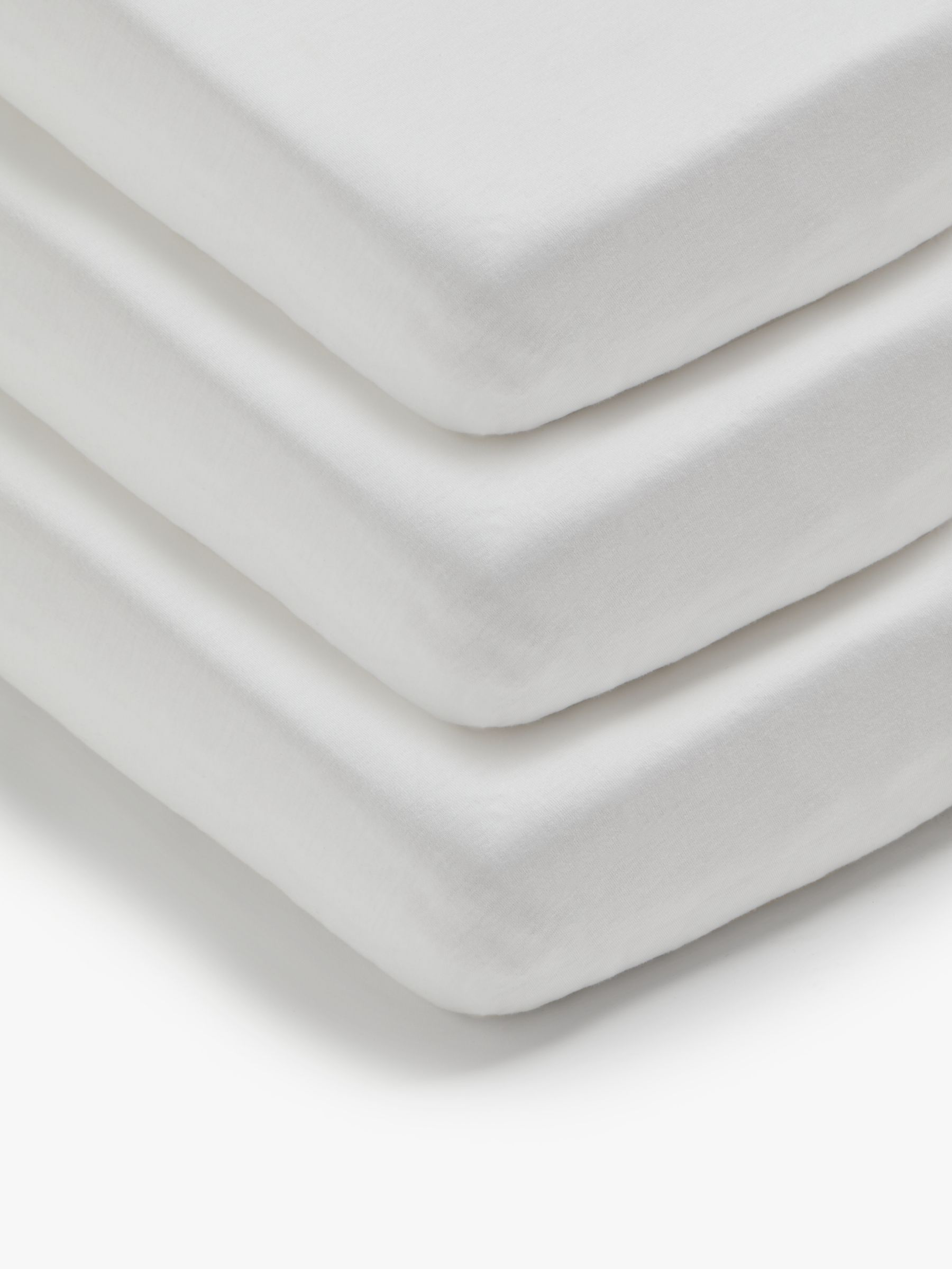 ANYDAY John Lewis & Partners Cotton Fitted Cot Sheet, Pack of 3, 60 x 120cm, White