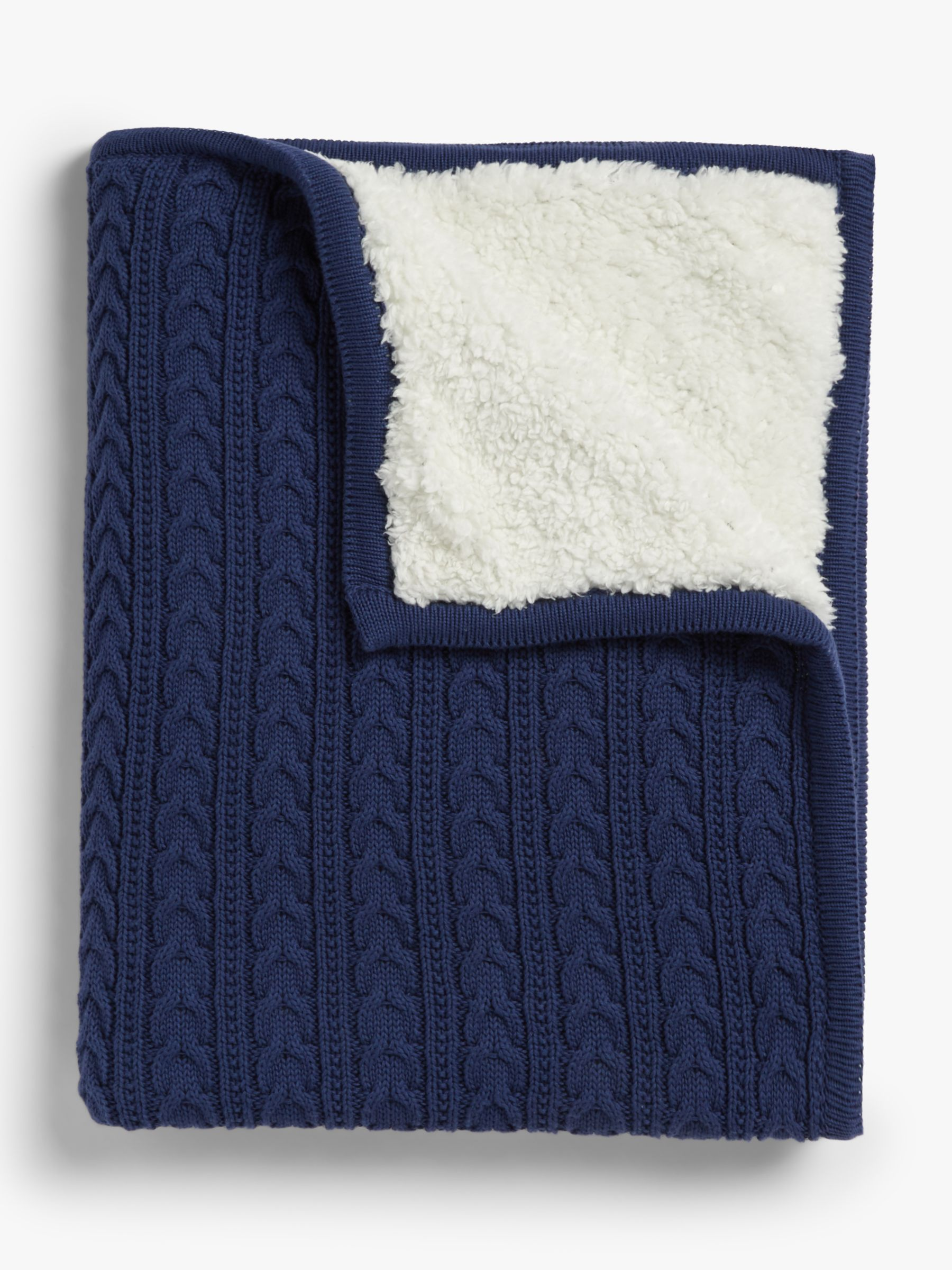 John Lewis Partners Cable Knit Baby Blanket Navy At John Lewis Partners