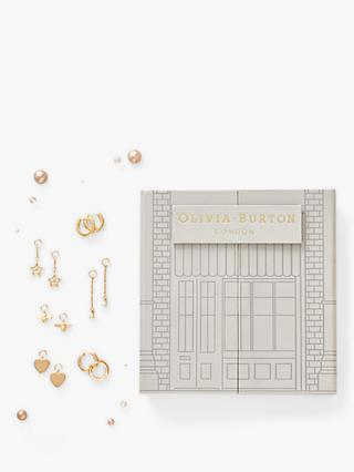 Olivia Burton House of Huggies Swarovski Crystal Star Heart Stud and Drop Earrings Gift Set, Set of 6, Gold OBJGSET13